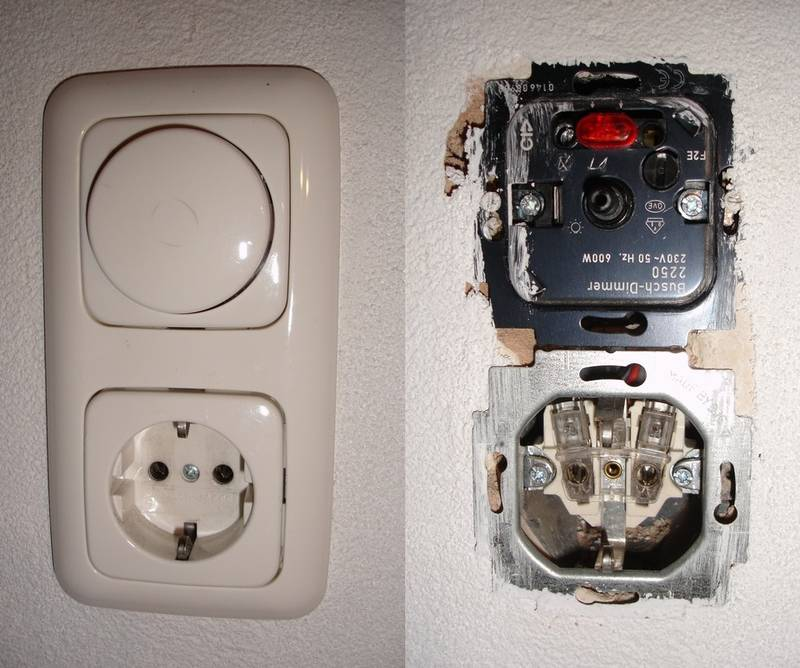 German dimmer switch outlet