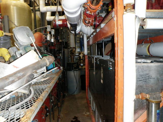 Cramped boiler room